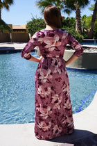 Bouquet Pink Floral Print Velvet Long Sleeve Maxi Dress 3