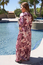 Bouquet Pink Floral Print Velvet Long Sleeve Maxi Dress 2