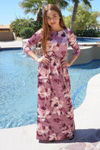 Bouquet Pink Floral Print Velvet Long Sleeve Maxi Dress 1