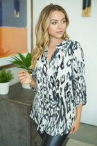 Brag About It Grey Print Button Up Top 3