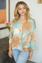 Bright And Beautiful Aqua Multi Tie Dye Twist Front Top 4