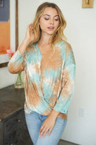 Bright And Beautiful Aqua Multi Tie Dye Twist Front Top 3
