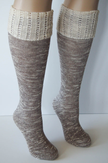 Brown Combo Knee High Marbled Knit Boot Sock with Pointelle Cuff 1