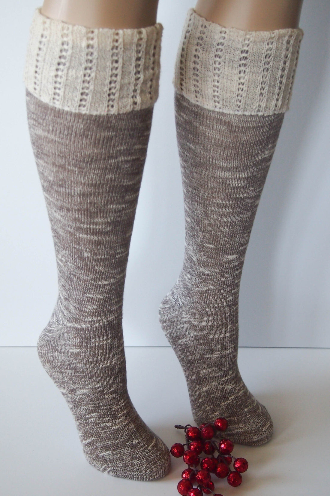 Brown Combo Knee High Marbled Knit Boot Sock with Pointelle Cuff 4