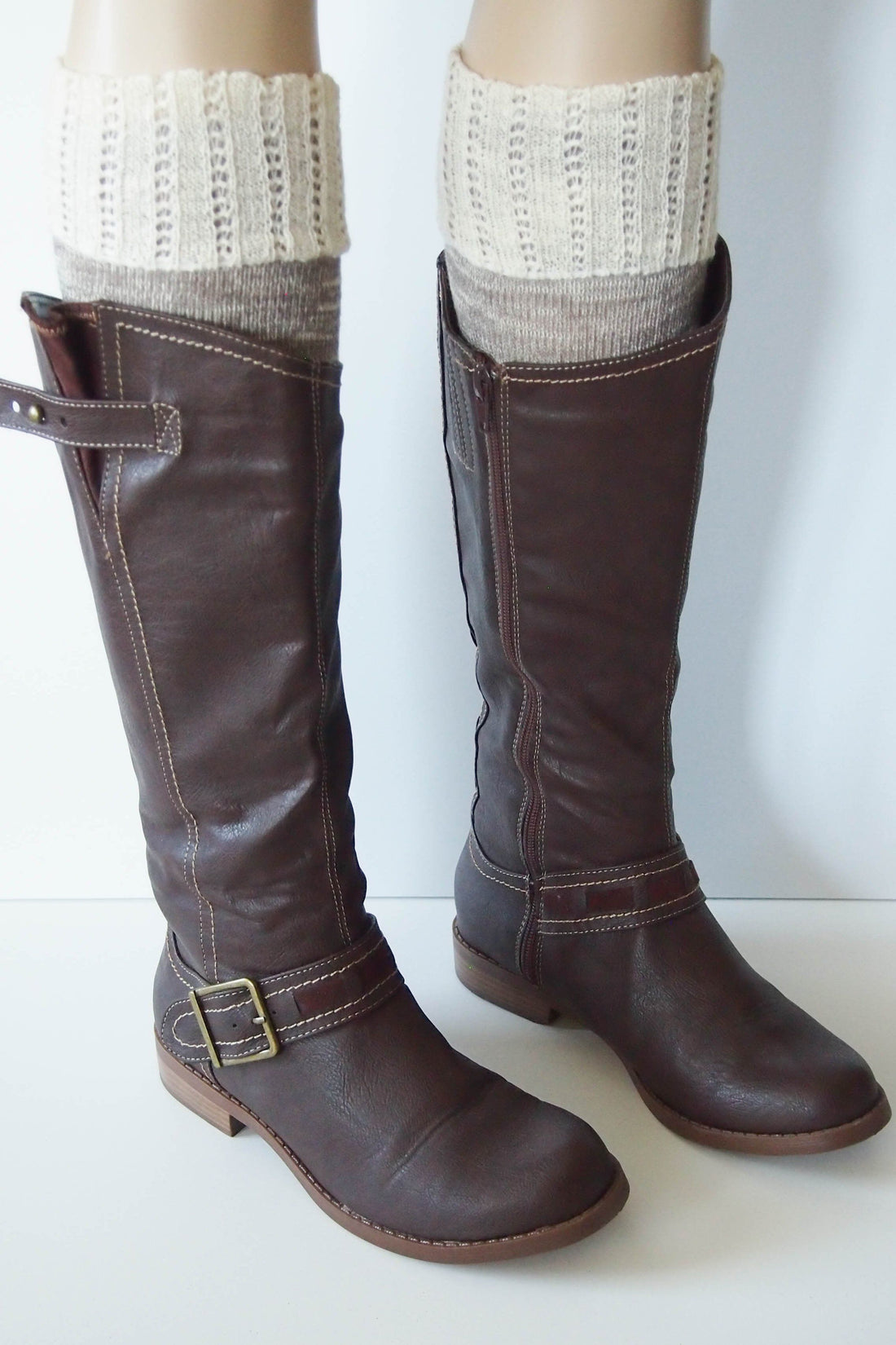 Brown Combo Knee High Marbled Knit Boot Sock with Pointelle Cuff 2