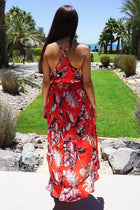 By The Sea Red Floral Print Halter High Low Maxi Dress 5