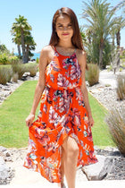 By The Sea Red Floral Print Halter High Low Maxi Dress 6
