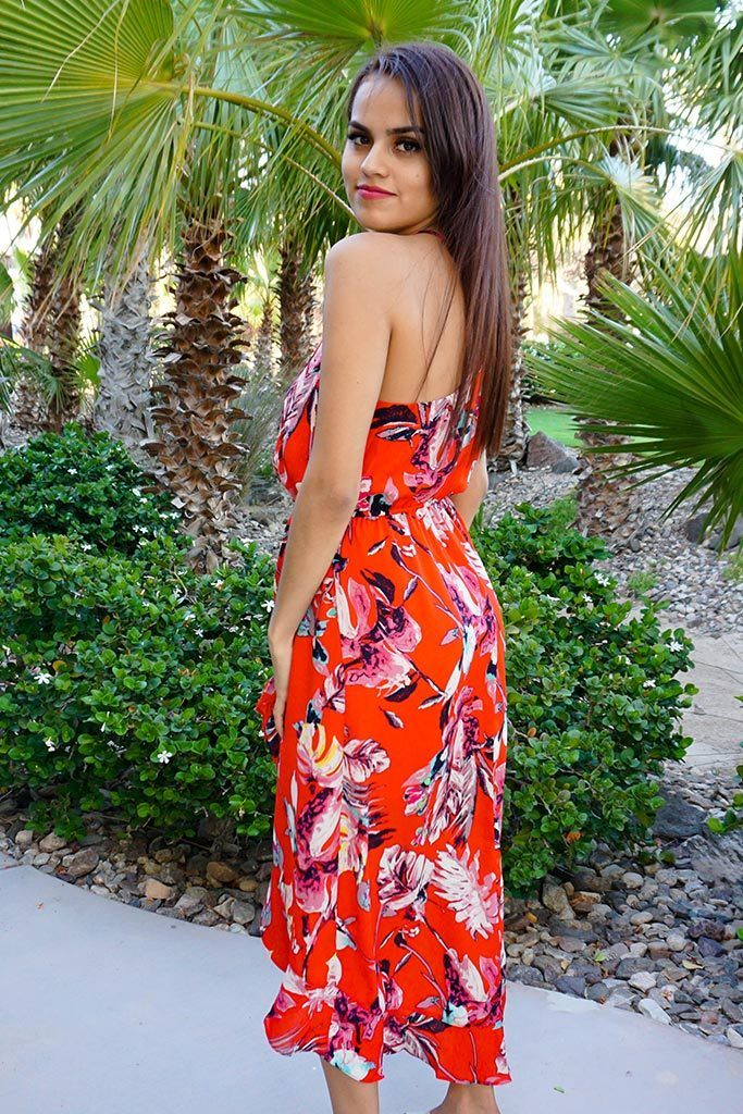 By The Sea Red Floral Print Halter High Low Maxi Dress 2