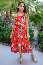 By The Sea Red Floral Print Halter High Low Maxi Dress 1