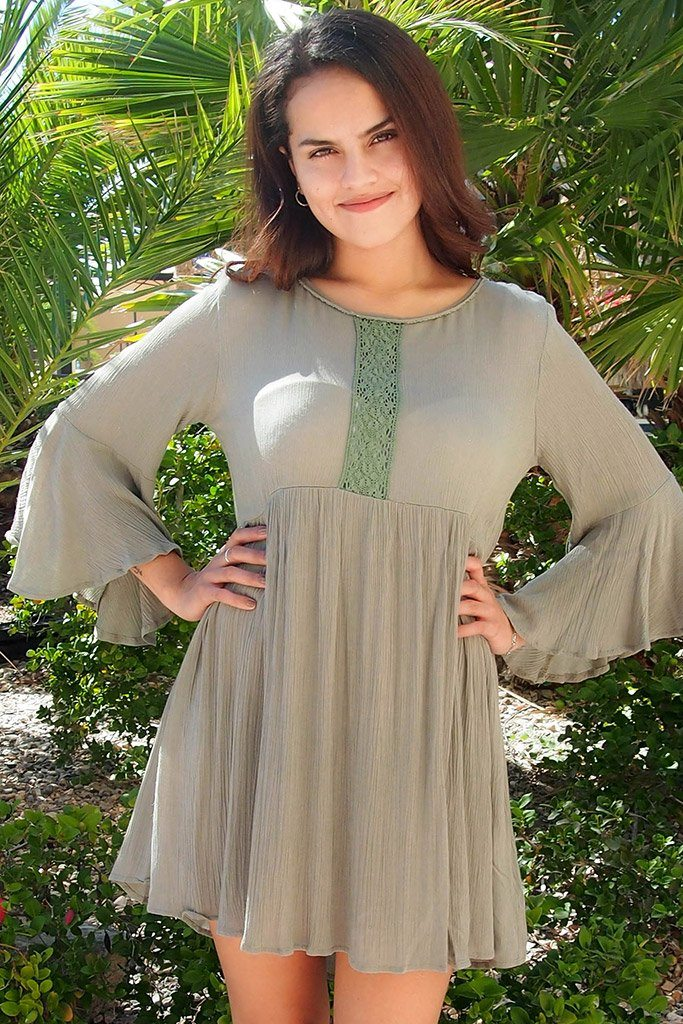 Can't Stop Staring Green Flounce Sleeve Swing Dress 1