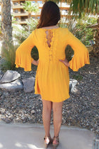 Can't Stop Staring Yellow Flounce Sleeve Shift Dress 2