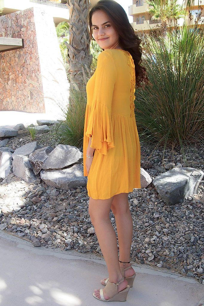 Can't Stop Staring Yellow Flounce Sleeve Shift Dress 3