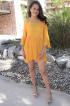 Can't Stop Staring Yellow Flounce Sleeve Shift Dress 4