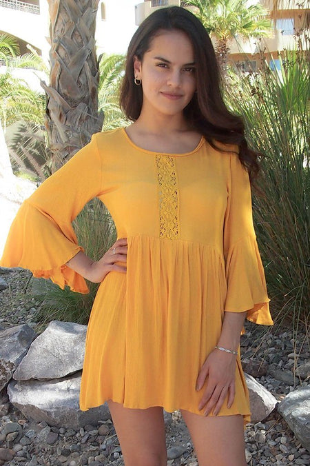 Can't Stop Staring Yellow Flounce Sleeve Shift Dress 1