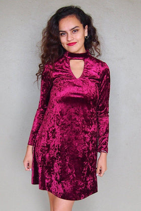 Capture My Attention Burgundy Velvet Cutout Shift Dress 1