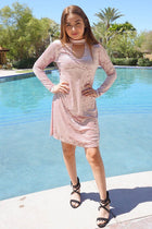 Capture My Attention Pink Velvet Cutout Shift Dress 4