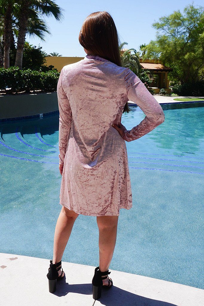Capture My Attention Pink Velvet Cutout Shift Dress 3