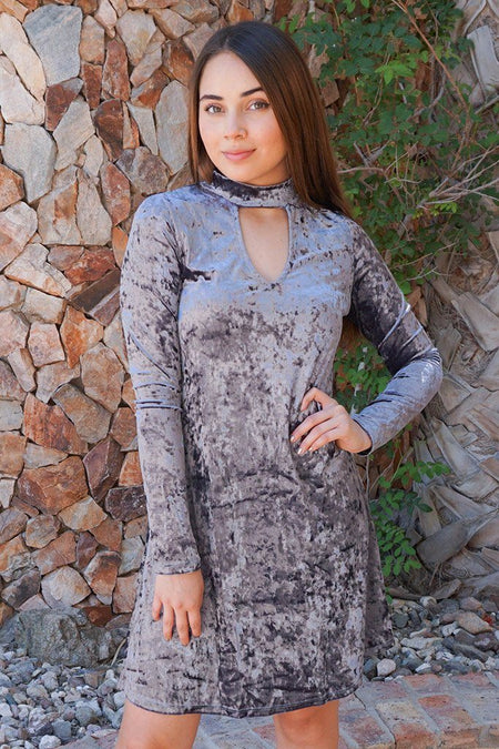 Capture My Attention Silver Velvet Cutout Shift Dress 1
