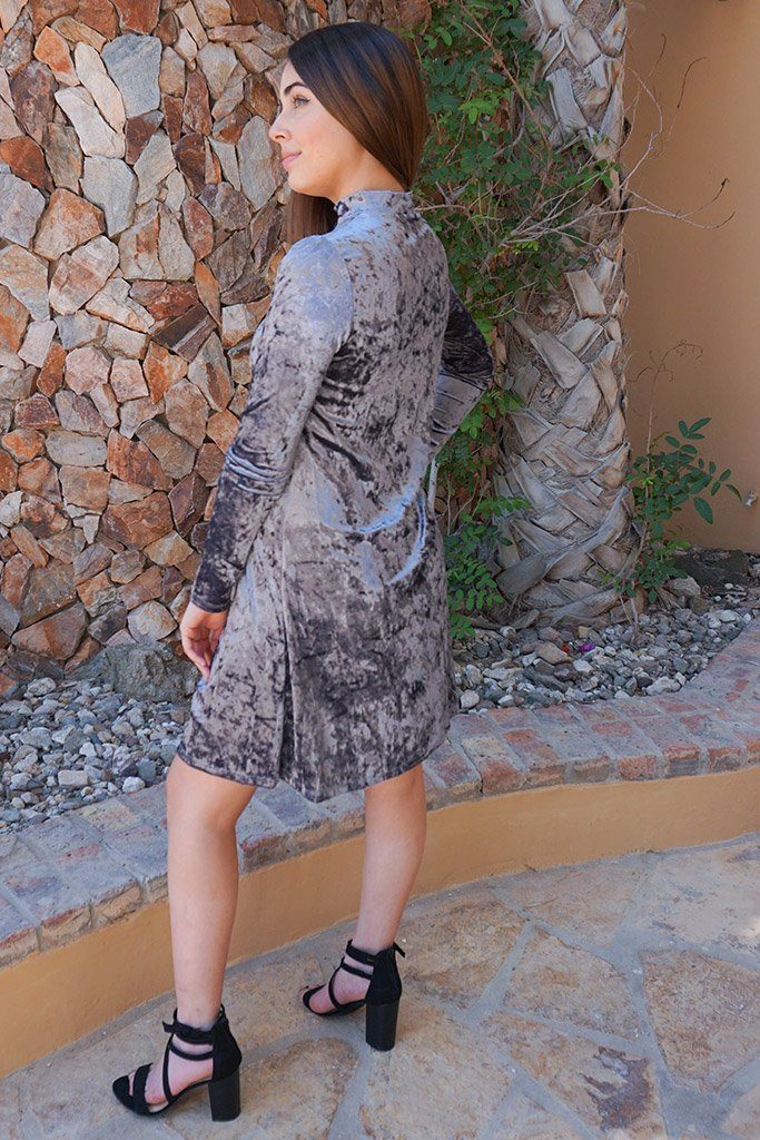 Capture My Attention Silver Velvet Cutout Shift Dress 2
