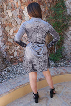 Capture My Attention Silver Velvet Cutout Shift Dress 3