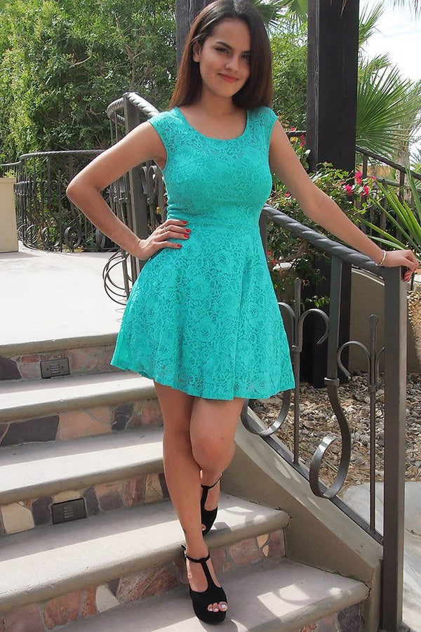 Capturing The Moment Mint Green Floral Lace Skater Dress 4