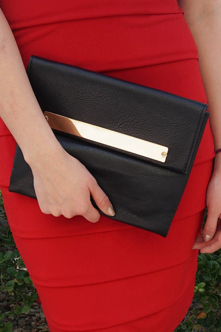 Catch My Eye Black Polished Metal Bar Flap Over Clutch 1