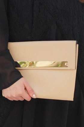 Catch My Eye Nude Polished Metal Bar Flap Over Clutch 1