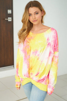 Catch These Rays Yellow Multi Tie Dye Top 1