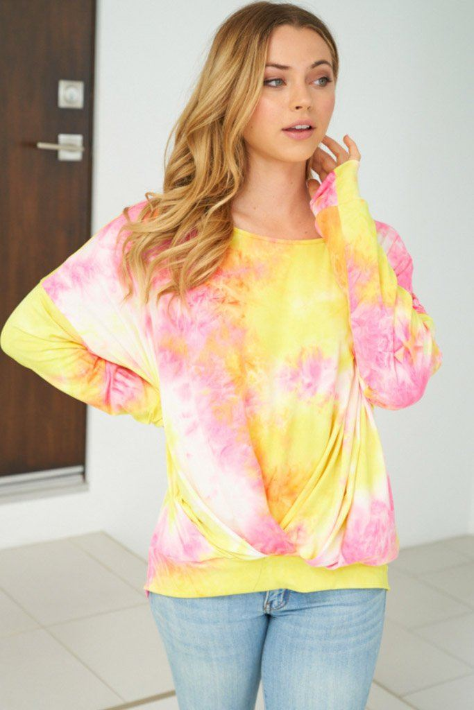 Catch These Rays Yellow Multi Tie Dye Top 4