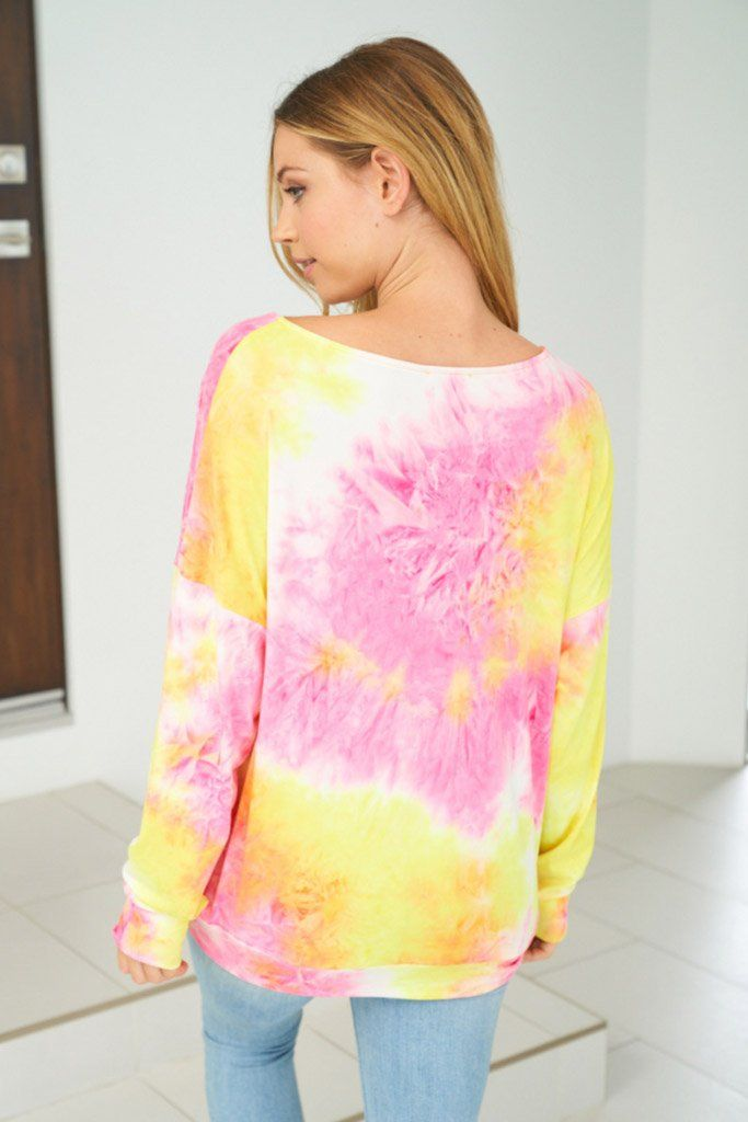 Catch These Rays Yellow Multi Tie Dye Top 2