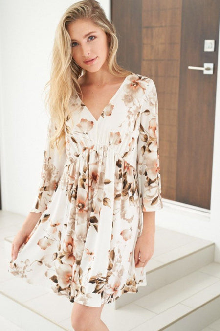 Caught My Eye Ivory Floral Print Dress 1