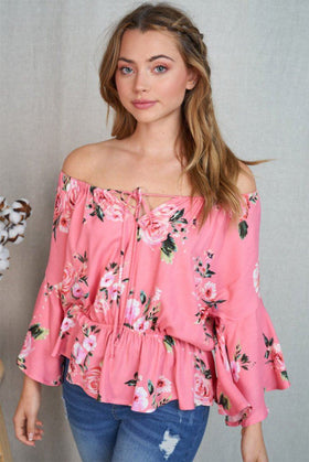 Celebrate The Day Coral Floral Off The Shoulder Top 1