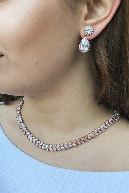 Celebration Rose Gold Rhinestone Necklace 5