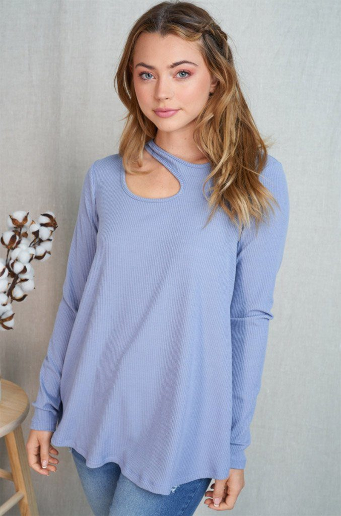 Center Of Attention Blue Cut Out Long Sleeve Top 1
