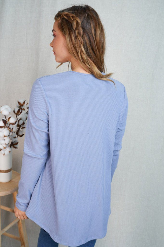 Center Of Attention Blue Cut Out Long Sleeve Top 2