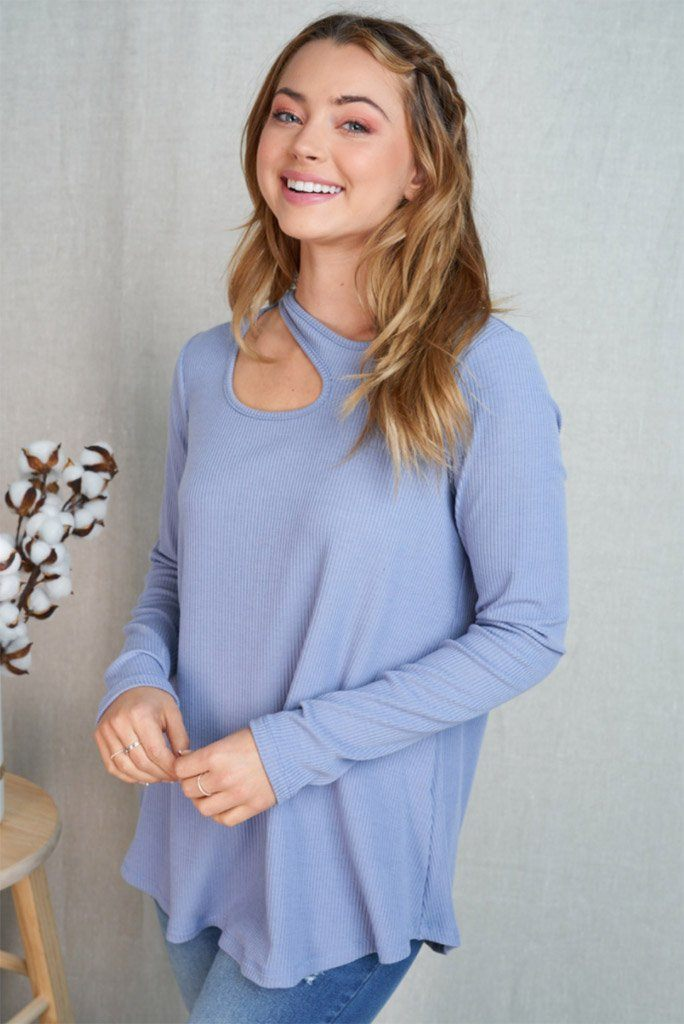 Center Of Attention Blue Cut Out Long Sleeve Top 3