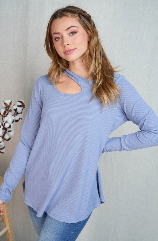 Center Of Attention Blue Cut Out Long Sleeve Top 4