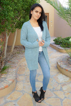 Charm Me Blue Chunky Knit Long Open Cardigan Sweater 4