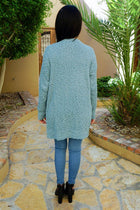 Charm Me Blue Chunky Knit Long Open Cardigan Sweater 3