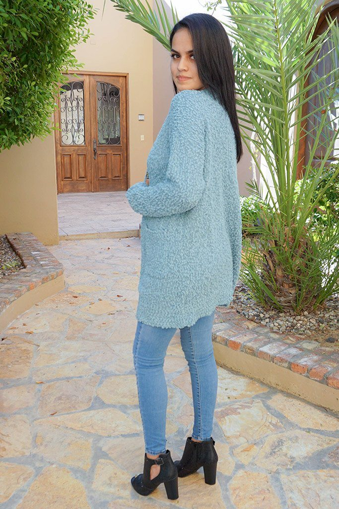 Charm Me Blue Chunky Knit Long Open Cardigan Sweater 2