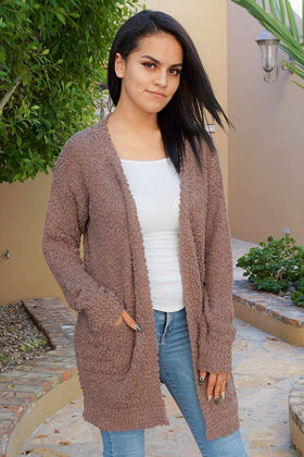 Charm Me Mocha Chunky Knit Long Open Cardigan Sweater 1