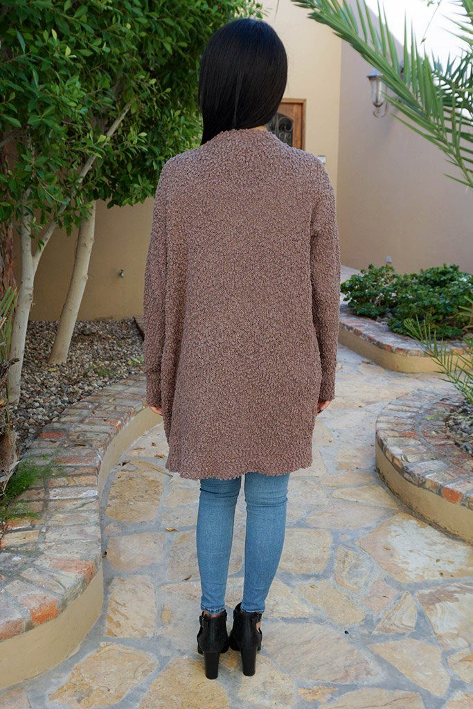 Charm Me Mocha Chunky Knit Long Open Cardigan Sweater 3