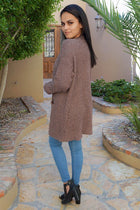 Charm Me Mocha Chunky Knit Long Open Cardigan Sweater 2