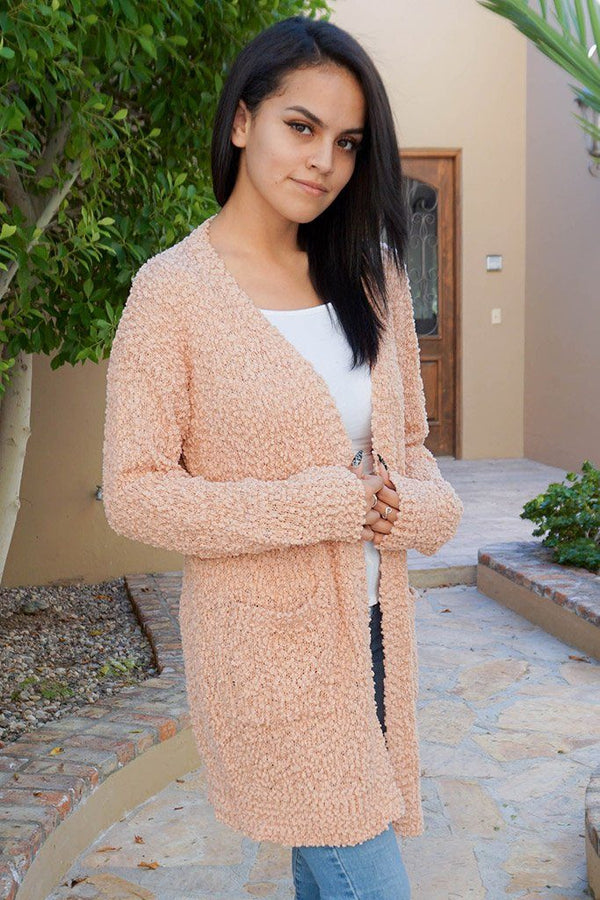 Charm Me Pink Chunky Knit Long Open Cardigan Sweater 1