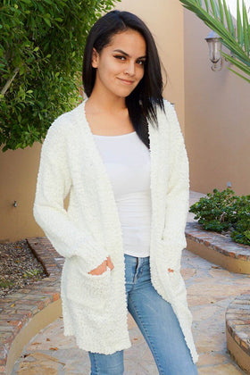Charm Me White Chunky Knit Long Open Cardigan Sweater 1
