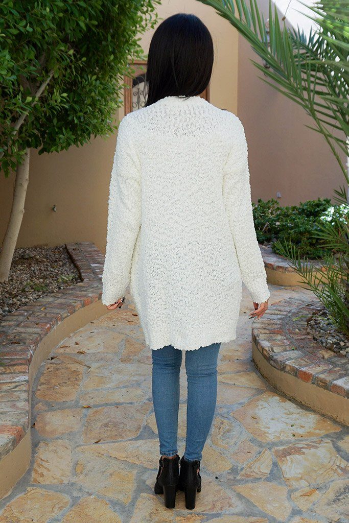 Charm Me White Chunky Knit Long Open Cardigan Sweater 3