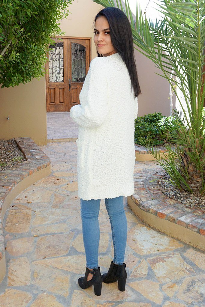 Charm Me White Chunky Knit Long Open Cardigan Sweater 2