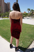Cherish Me Red Velvet Halter Bodycon Backless Midi Dress 3