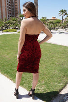 Cherish Me Red Velvet Halter Bodycon Backless Midi Dress 2
