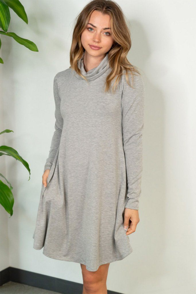 Chic Winter Mentions Grey Knit Swing Dress 1